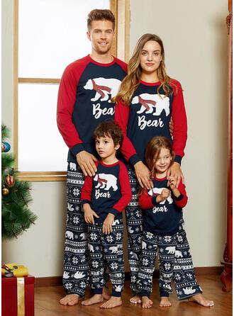 Ours Letter Inmprimé Tenue Familiale Assortie Pyjama De Noël