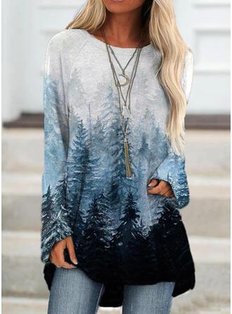 Print Forest Round Neck Long Sleeves Sweatshirt