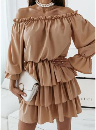 Solid Long Sleeves Ruffle Sleeve A-line Above Knee Casual Skater Dresses