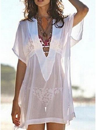 Solid Color Mesh V-Neck Elegant Cover-ups Swimsuits