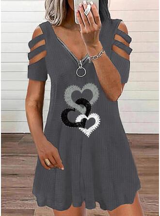 Imprimée/Cœur Manches Courtes Droite Au-dessus Du Genou Décontractée Tunique Robes