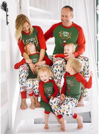 Cerf Letter Dessin Animé Tenue Familiale Assortie Pyjama De Noël