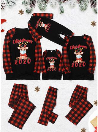 Reindeer Plaid Letter Print Family Matching Christmas Pajamas