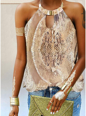 Lace Solid Strap Sleeveless Tank Tops