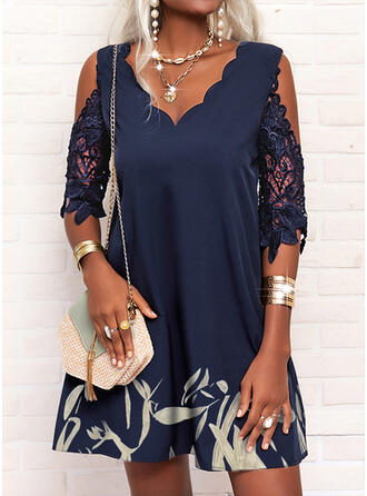 Print Lace 1/2 Sleeves Cold Shoulder Sleeve Shift Above Knee Casual Tunic Dresses