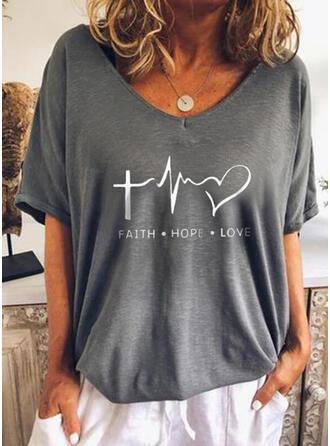 Cœur Imprimé Letter Col V Manches 1/2 T-shirts