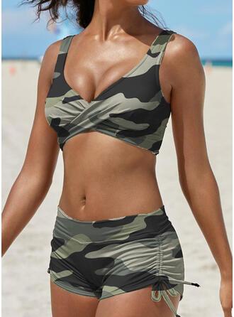 Rayures À Bretelles Col V Boho Exceptionnel Bikinis Maillots De Bain