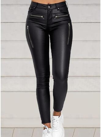 Solid PU Long Sexy Vintage Plus Size Pocket Pants
