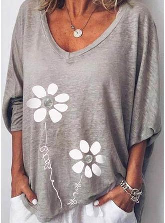 Fleurie Imprimé Letter Col V Manches Longues T-shirts
