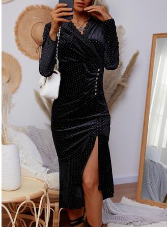 Print/PolkaDot Lace Long Sleeves Sheath Knee Length Casual Dresses