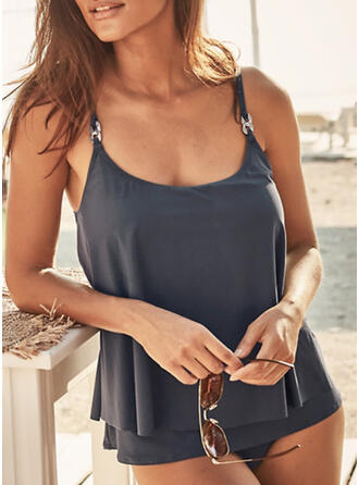 Solid Strap U-Neck Plus Size Casual Tankinis Swimsuits