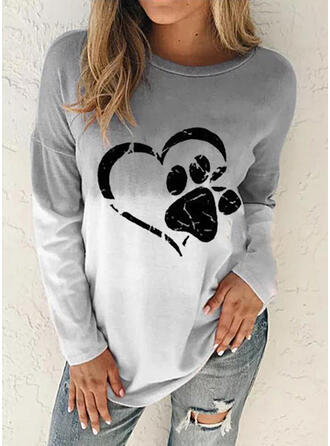 Print Gradient Heart Animal Round Neck Long Sleeves Sweatshirt