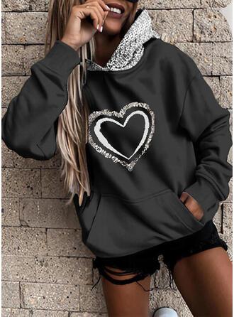 Print Heart Sequins Long Sleeves Hoodie