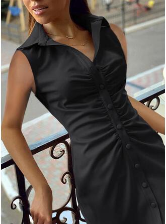 Couleur Unie Sans Manches Fourreau Au-dessus Du Genou Petites Robes Noires/Décontractée Robes