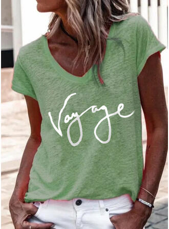 Imprimé Letter Col V Manches Courtes T-shirts