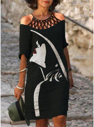 Imprimée/Ouvertes Manches 1/2 Droite Longueur Genou Décontractée Tunique Robes