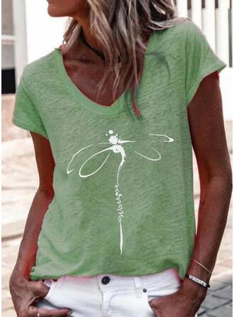 Imprimé Animal Letter Col V Manches Courtes T-shirts