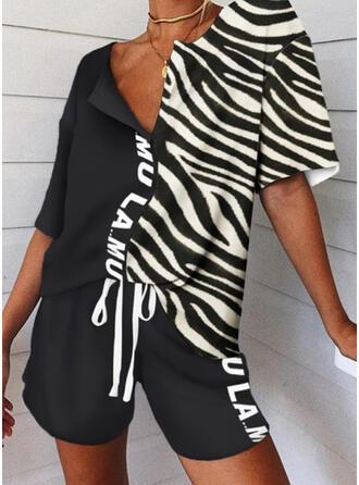 Striped Patchwork Grande taille Cordon Décontractée Sportif Costume