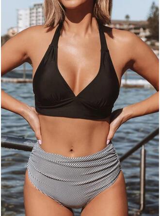 Épissage Couleur Évider Dos Nu Col V Sexy Bikinis Maillots De Bain
