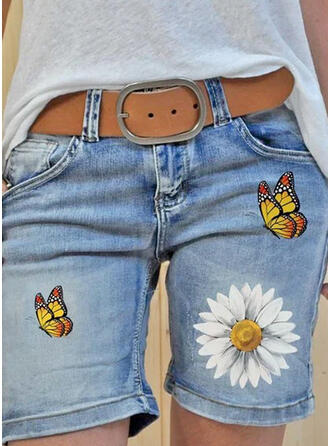 Floral Print Butterfly Denim Above Knee Casual Plus Size Pocket Pants Shorts Denim & Jeans