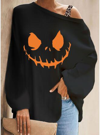 Halloween Print Leopard One Shoulder Long Sleeves Bat Sleeve Casual Blouses