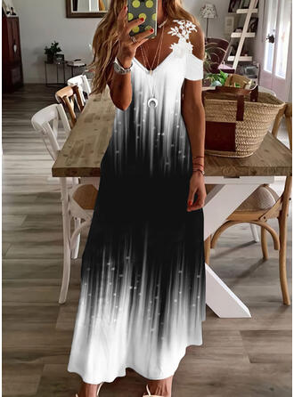 Print/Gradient Lace Short Sleeves Cold Shoulder Sleeve Shift Casual/Vacation Maxi Dresses