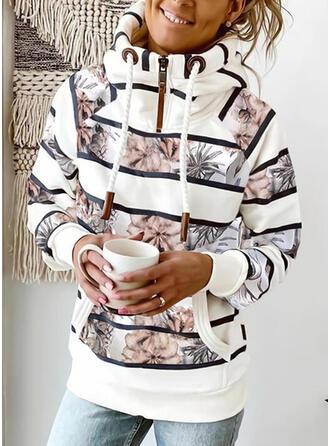 Print Floral Striped Long Sleeves Hoodie