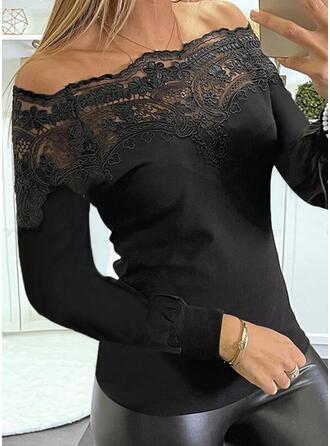 Solid Lace Off the Shoulder Long Sleeves Elegant Blouses