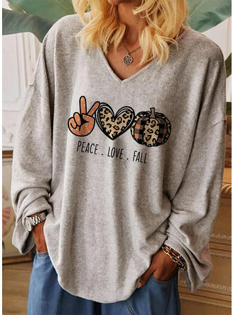 Print Leopard Heart V-Neck Long Sleeves Casual Halloween T-shirts