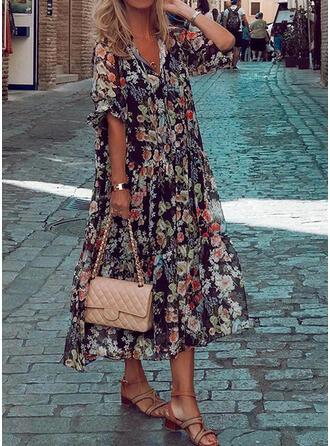 Print/Floral Long Sleeves Shift Tunic Casual/Vacation Midi Dresses