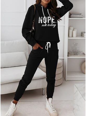 Pockets Letter Print Casual Plus Size Sweatshirts & Two-Piece Outfits Set