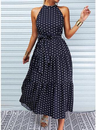 Print/PolkaDot Sleeveless A-line Skater Casual Maxi Dresses