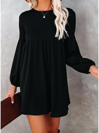Solid Long Sleeves Lantern Sleeve Shift Above Knee Little Black/Elegant Dresses