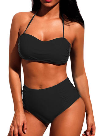 Solid Color High Waist Halter V-Neck Sexy Classic Bikinis Swimsuits
