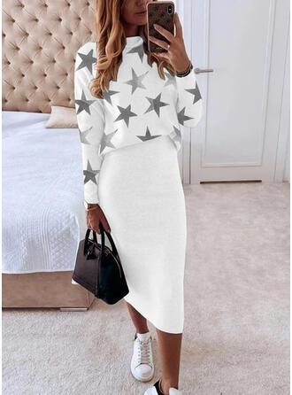 Print Long Sleeves Bodycon Pencil Casual Midi Dresses