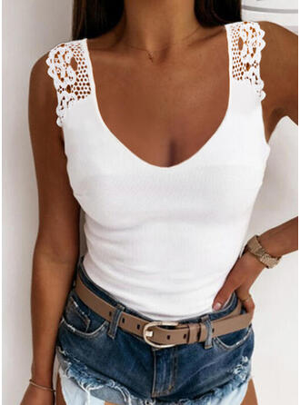 Solid Lace Round Neck Sleeveless Tank Tops