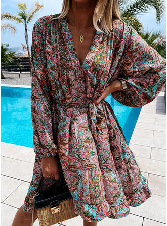 Print Long Sleeves A-line Knee Length Casual/Vacation Wrap/Skater Dresses
