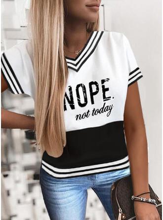 Bloc de Couleur Imprimé Letter Col V Manches Courtes T-shirts