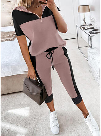 Color Block Casual Sweatshirts & Two-Piece Outfits Set
