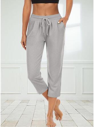 Solid Knit Capris Casual Sporty Pocket Shirred Drawstring Pants Lounge Pants