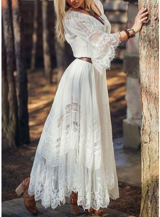 Lace/Solid 3/4 Sleeves/Flare Sleeves A-line Skater Elegant Maxi Dresses