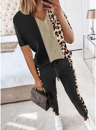 Leopard Color Block Casual Plus Size Blouse & Two-Piece Outfits Set