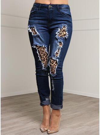 Patchwork Les poches Grande taille Léopard Sexy Treillis Jeans