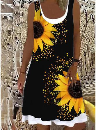 Sunflower Print Sleeveless Shift Knee Length Casual Dresses