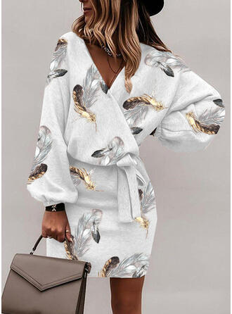 Print Long Sleeves Bodycon Above Knee Casual Wrap Dresses