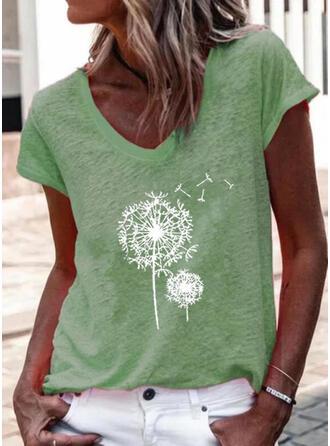 Pissenlit Imprimé Col V Manches Courtes T-shirts