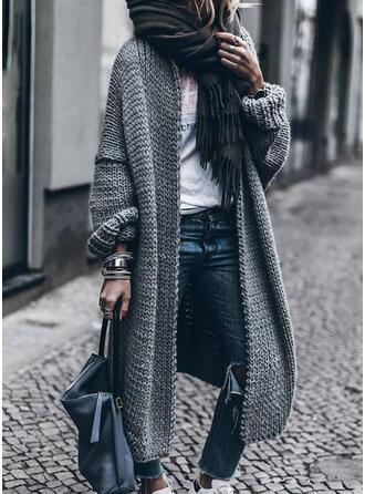 Polyester Coton Manches longues Couleur unie Manteaux oversize