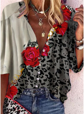 Print Floral Leopard V-Neck 3/4 Sleeves Casual Blouses