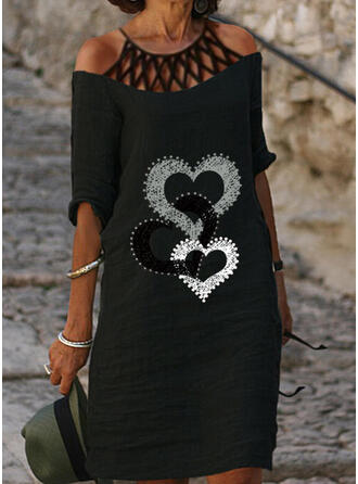 Imprimée/Cœur Manches 1/2 Droite Longueur Genou Décontractée Tunique Robes