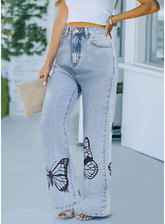 Print Butterfly Long Casual Pants